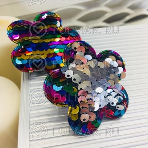 Набор резинки для волос с двусторонними пайетками меняют цвет Радужный-Серебристый Цветочки (2 шт.)