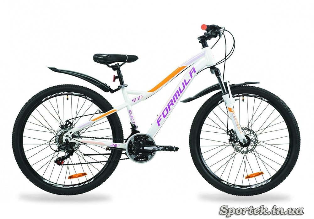 Горный женский велосипед Formula Electra AM DD - бело-фиолетовый с оранжевым