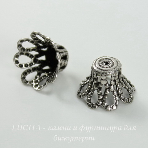 Винтажный декоративный элемент - шапочка 12х8 мм (оксид серебра) ()