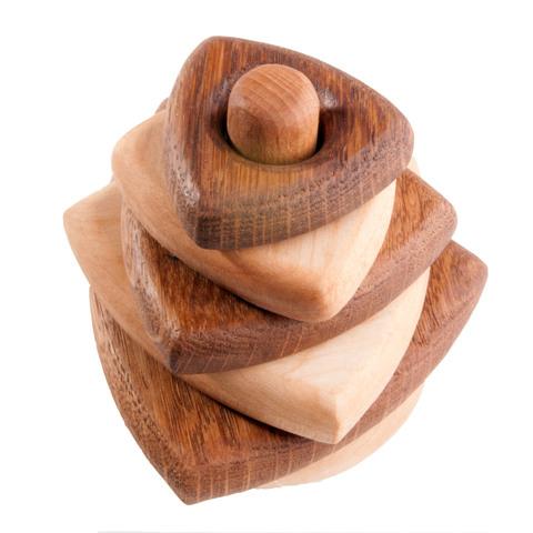 Пирамидка деревянная треугольная, дуб-клен