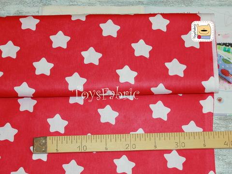Ткань бязь Д81 Округлые звезды на малиновом (75х50см)