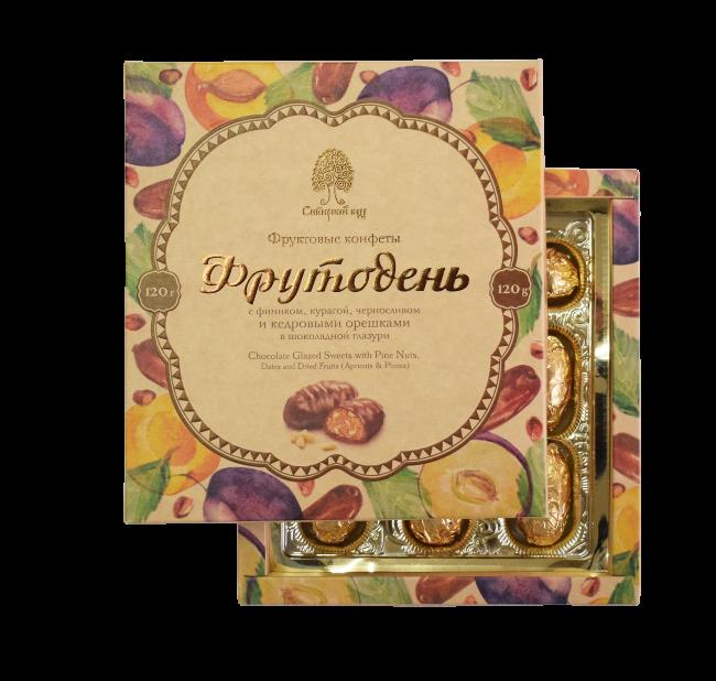 Конфеты Фрутодень с кедровыми орешками в шоколадной глазури
