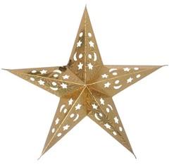 Звезда бумажная голографическая золотая (30см)