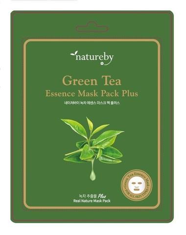 Natureby Тканевая питательная маска для лица с экстрактом зеленого чая New 23г