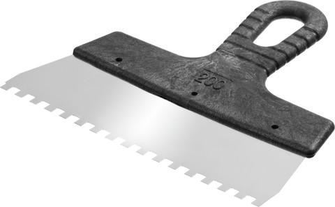 Шпатель нержавеющий СИБИН зубчатый, с пластмассовой ручкой, зуб 6х6 мм, 200 мм