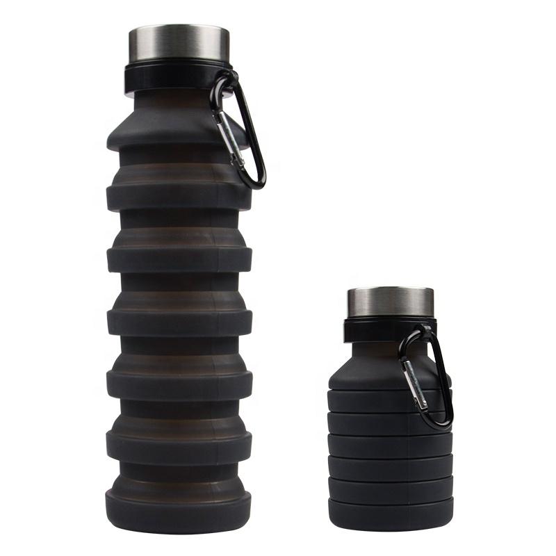 Бутылка для воды силиконовая складная с карабином 550 мл черная