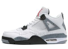 Кроссовки Мужские Nike Air Jordan Retro 4 White Black Grey