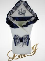 Зимний набор на выписку из роддома Очарование - 3 предмета (кремовый\синий)