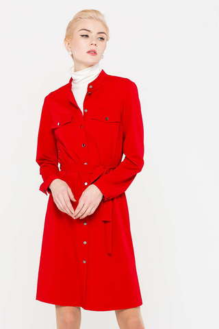 Фото красное платье с застежкой по всей длине, поясом и длинным рукавом - Платье З393-345 (1)