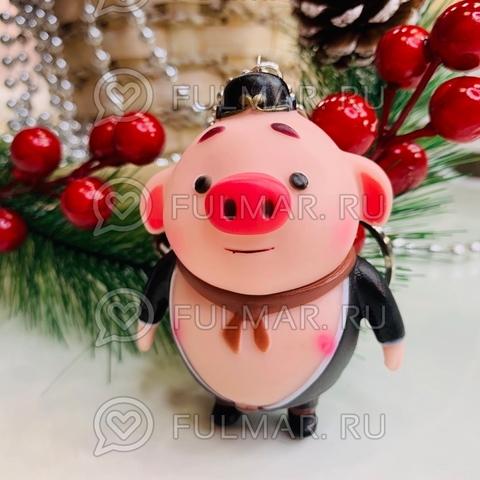 Брелок свинка Мальчик Чудак в чёрном символ 2019 года