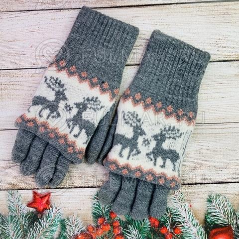 Перчатки для девочки с митёнками сенсорные два пальца Олени Серые