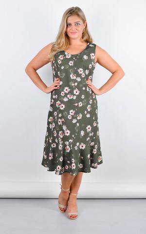 Ванила. Нежное платье плюс сайз. Олива.