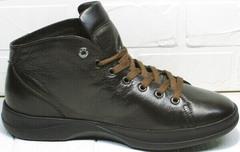 Коричневые кожаные ботинки кроссовки для ходьбы по городу Ikoc 1770-5 B-Brown.