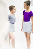 Grey wrap chiffon skirt with violet contrast ribbon