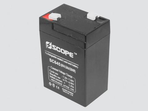 Аккумулятор свинцово-кислотный 6V, 4.5Ah SC-645 70*47*101мм