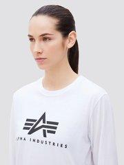 Лонгслив Alpha Industries Basic Logo White женский (Белый)