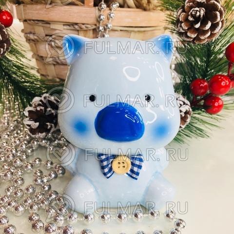 Копилка Свинка- Милашка Мальчик голубая с бантиком символ 2019 года (11х8х6 см)