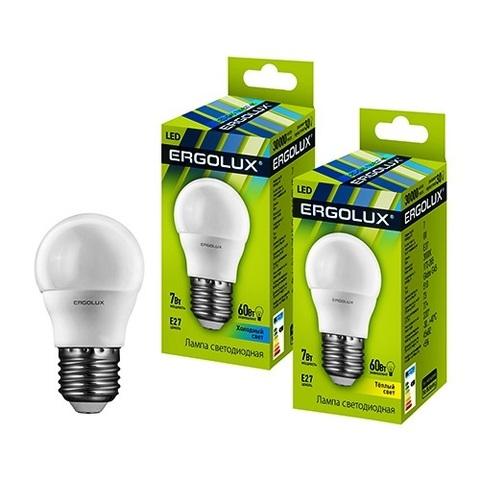 Лампа Ergolux LED-G45-7W-E27-4K шар (холодный свет)