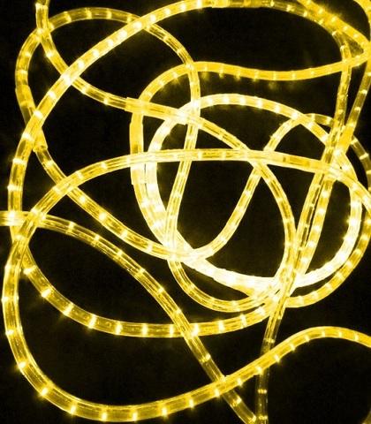 LED Дюралайт, двухжильный, круглый 13 мм, Желтый, 36 LED/м, кратность резки 1 метр