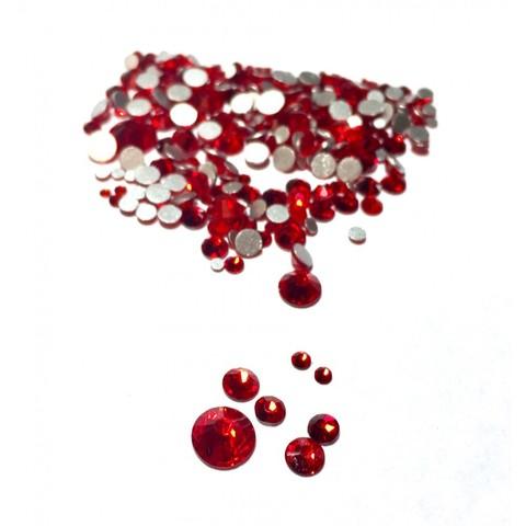 Стразы Crystal для дизайна ногтей  разноразмерные красные, 1440 штук