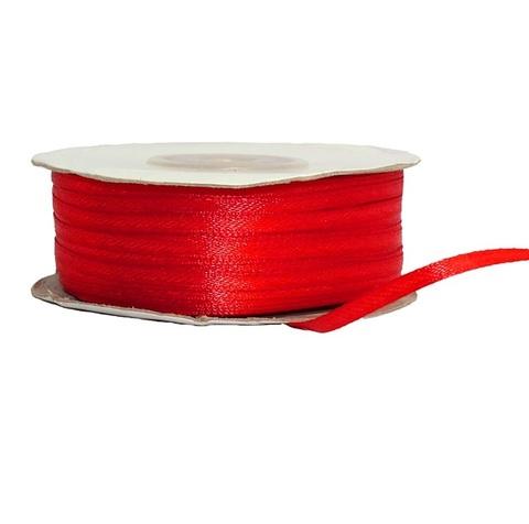 Лента атласная (размер: 3 мм х 50 м) Цвет: красная
