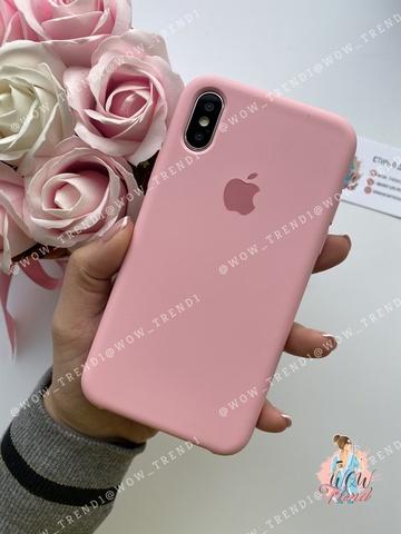 Чехол iPhone X/XS Silicone Case /light pink/ розовый 1:1