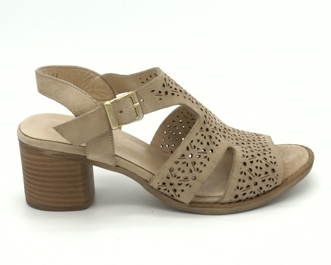 Бежевые кожаные босоножки на устойчивом каблуке