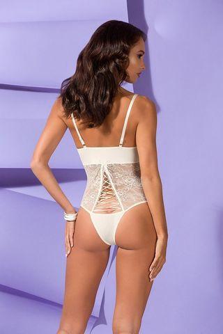 Эффектное боди Bianca из эластичной ткани и гипюра