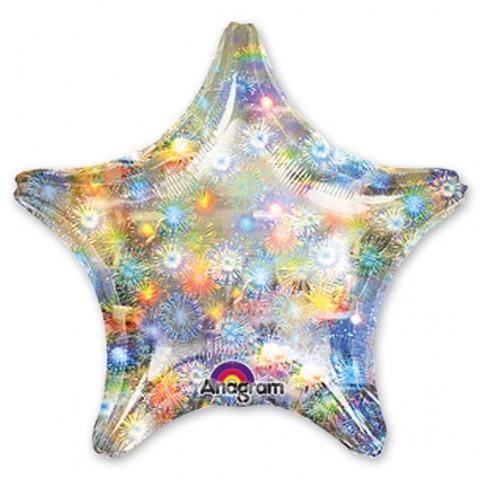 Фольгированный шар Звезда голографическая