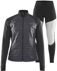 Элитный утеплённый беговой костюм Craft Sub Zero Jacket 2020 женский (черный с белым)