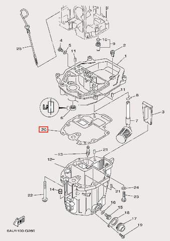 Прокладка дейдвуда для лодочного мотора F9,9 Sea-PRO (24-20)