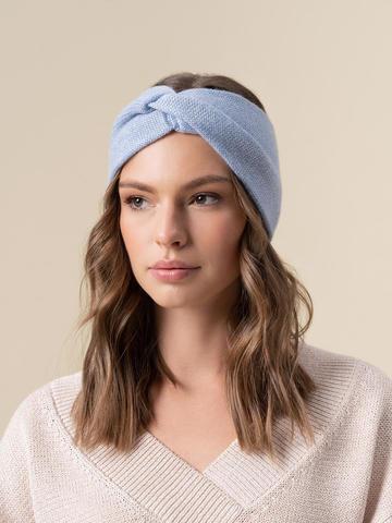 Женская повязка на голову голубого цвета из кашемира - фото 2