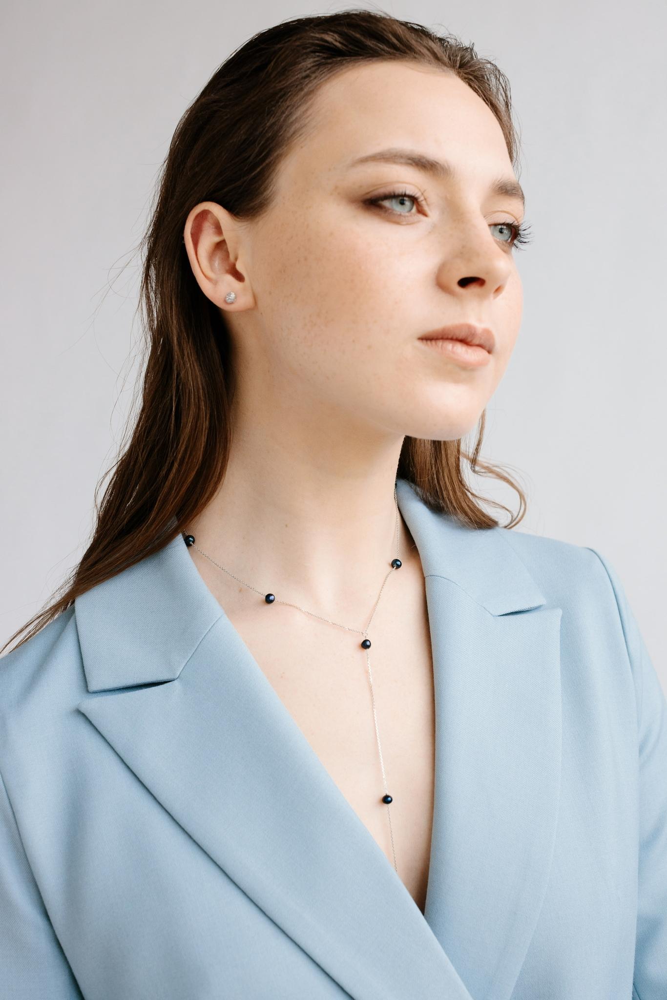 Серебряное колье галстук с черным жемчугом