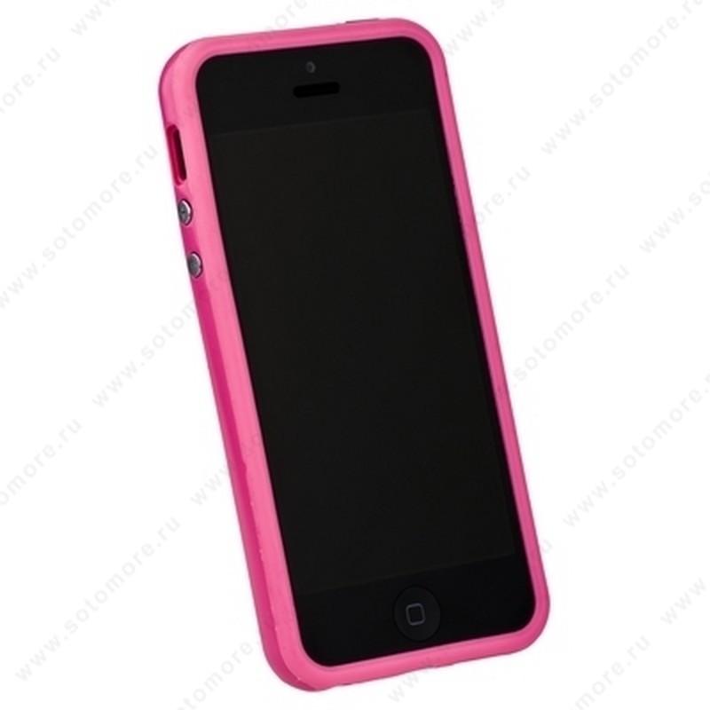 Бампер для iPhone SE/ 5s/ 5C/ 5 розовый с розовой полосой