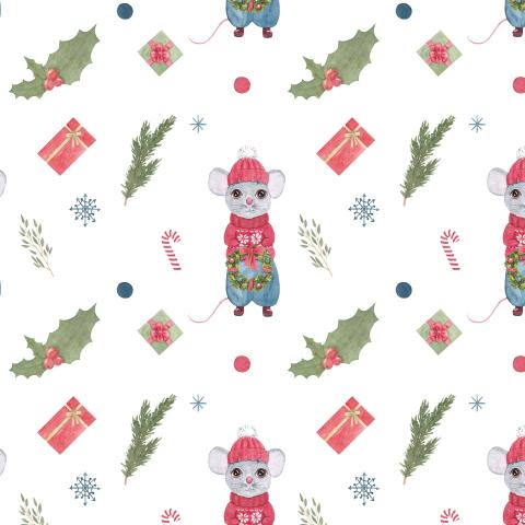 Новогодний мышонок с рождественским праздничным венком