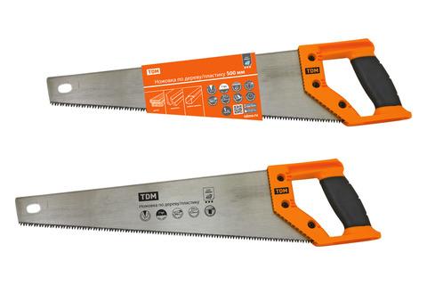 Ножовка по дереву/пластику 500 мм, закаленные зубья, прорезиненная рукоятка,