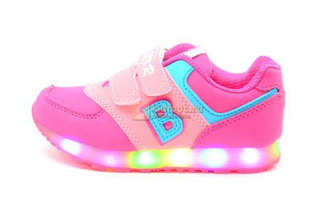Светящиеся кроссовки Бебексия (BEIBEIXIA) для девочек, цвет розовый, светится вся подошва. Изображение 2 из 10.