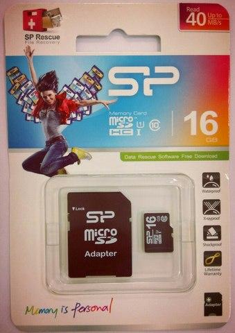 Карта памяти Silicon Power 16Gb MicroSDHC Class 10 до 40 MB/s UHS-I