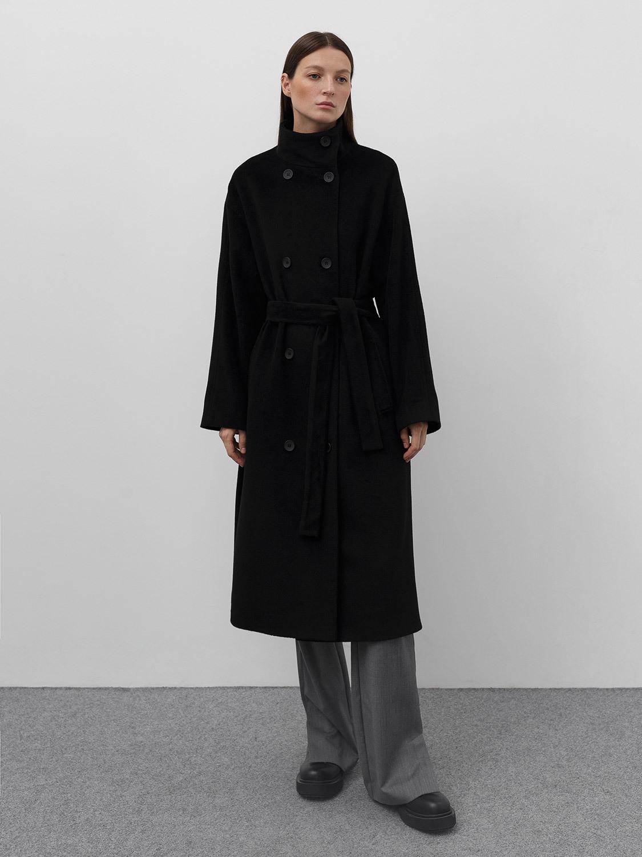 Пальто Баку с воротником стойкой gate31 черного цвета