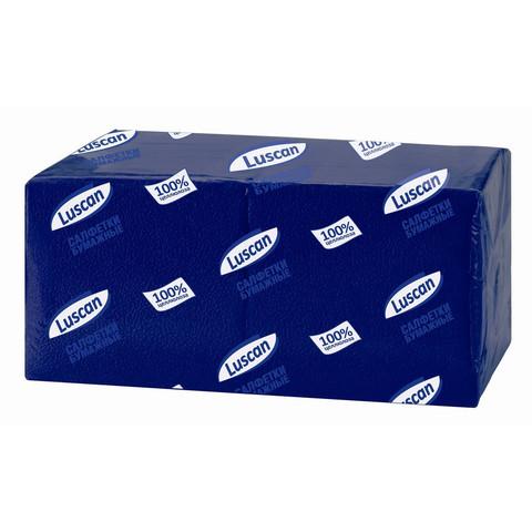 Салфетки бумажные Luscan Profi Pack 1-слойные 24х24 синие 400 штук в упаковке