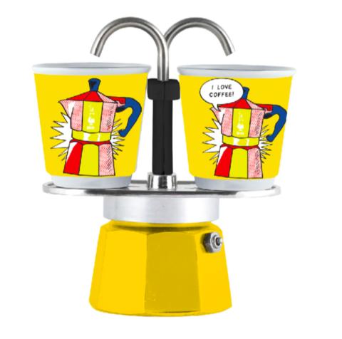 Bialetti Mini Express Arte Lichtenstein, Гейзерная кофеварка на 2 порции с 2-мя чашками