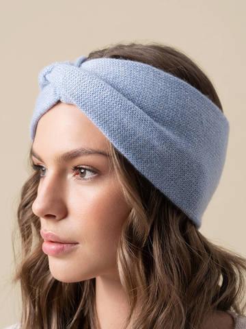 Женская повязка на голову голубого цвета из кашемира - фото 3