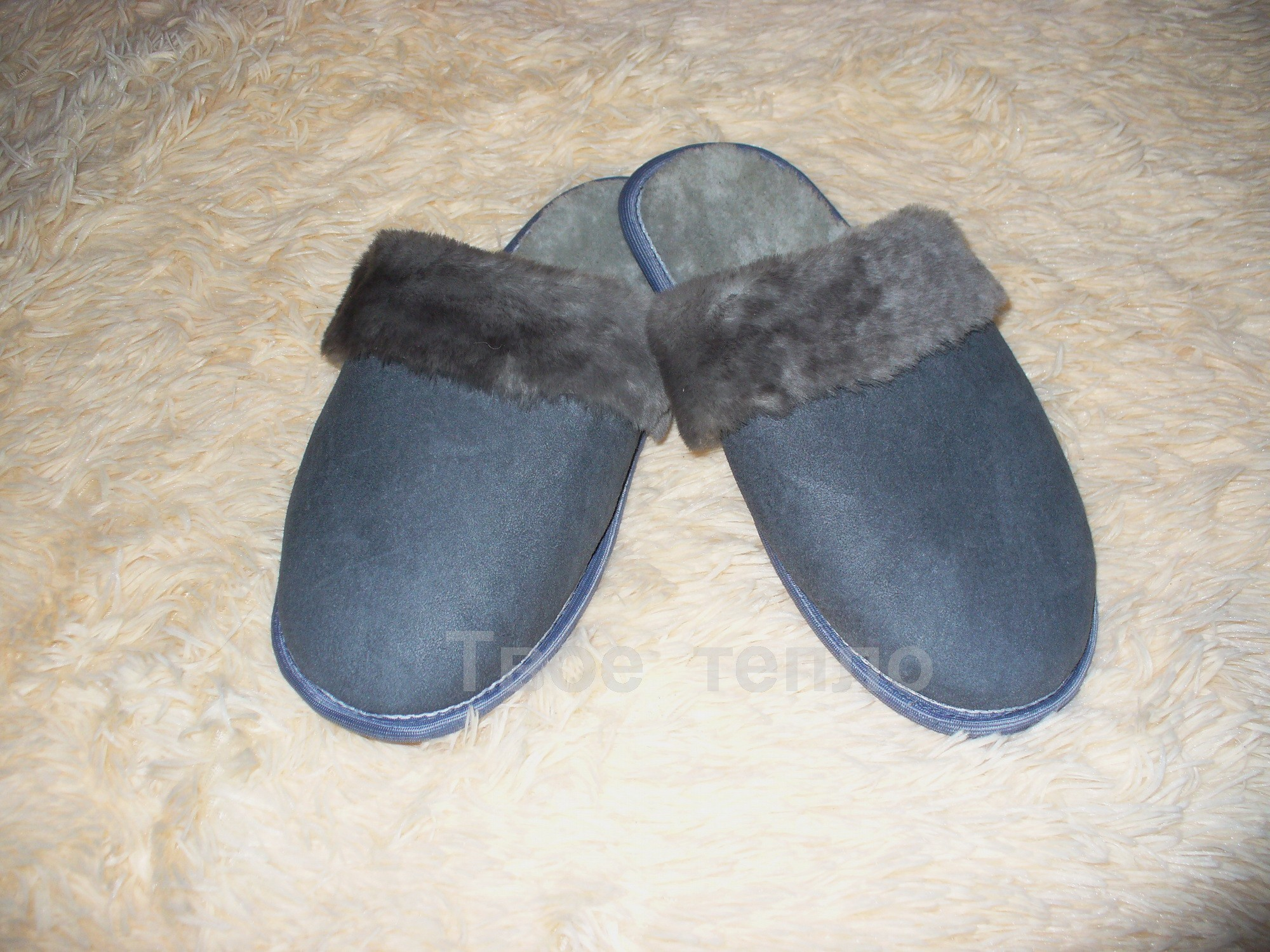 Мужские тапочки шлепки из дубленой кожи