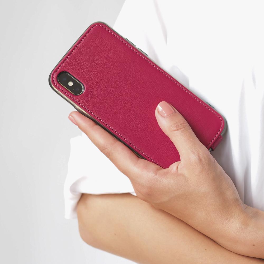 Чехол для iPhone X/XS из натуральной кожи теленка, цвета малины