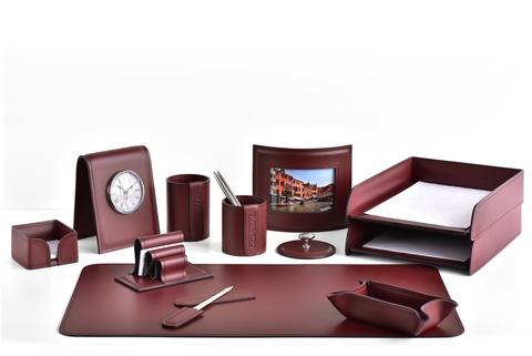 Настольный набор 13 предметов, натуральная  кожа, цвет бордо
