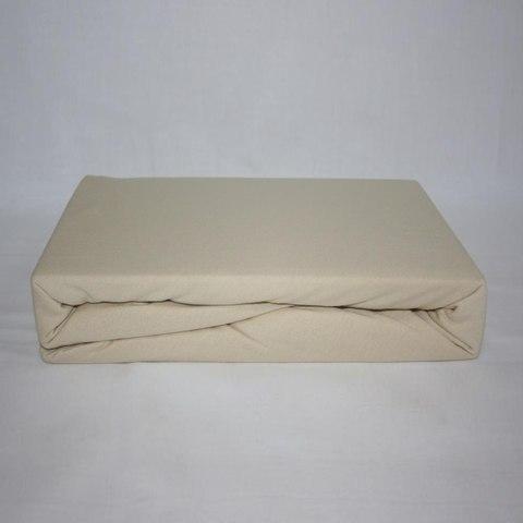 Простынь на резинке трикотажная 160x200 (бежевая)