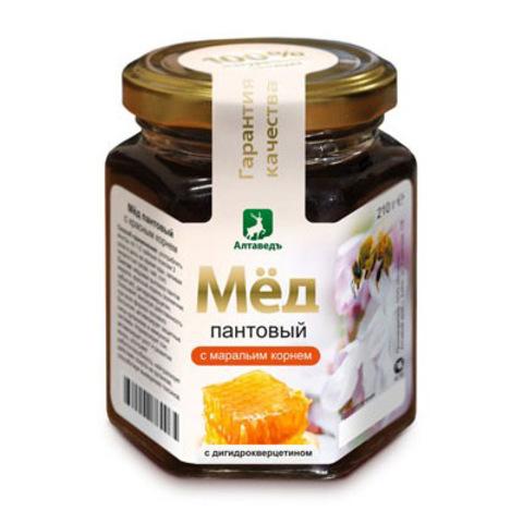 Пантовый мёд с маральим корнем и дигидрокверцетином Алтаведъ, 210г