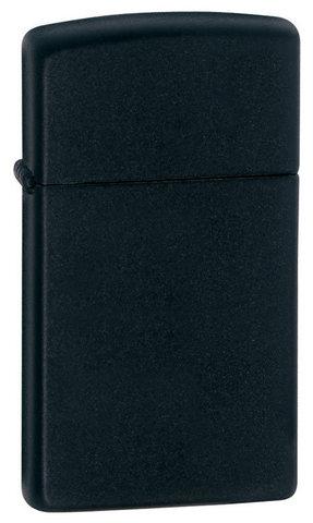 Зажигалка Zippo Slim Black Matte, латунь/сталь, чёрная, матовая, 30x10x55 мм