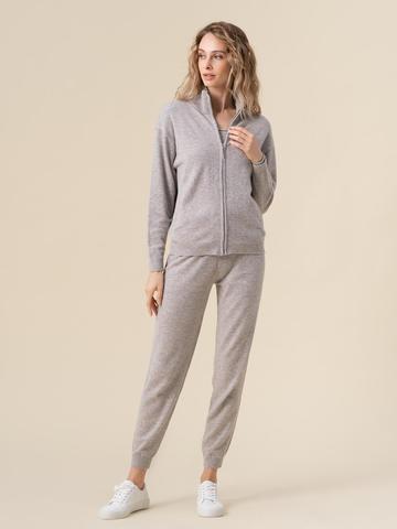 Женские брюки светло-серого цвета из 100% кашемира - фото 6