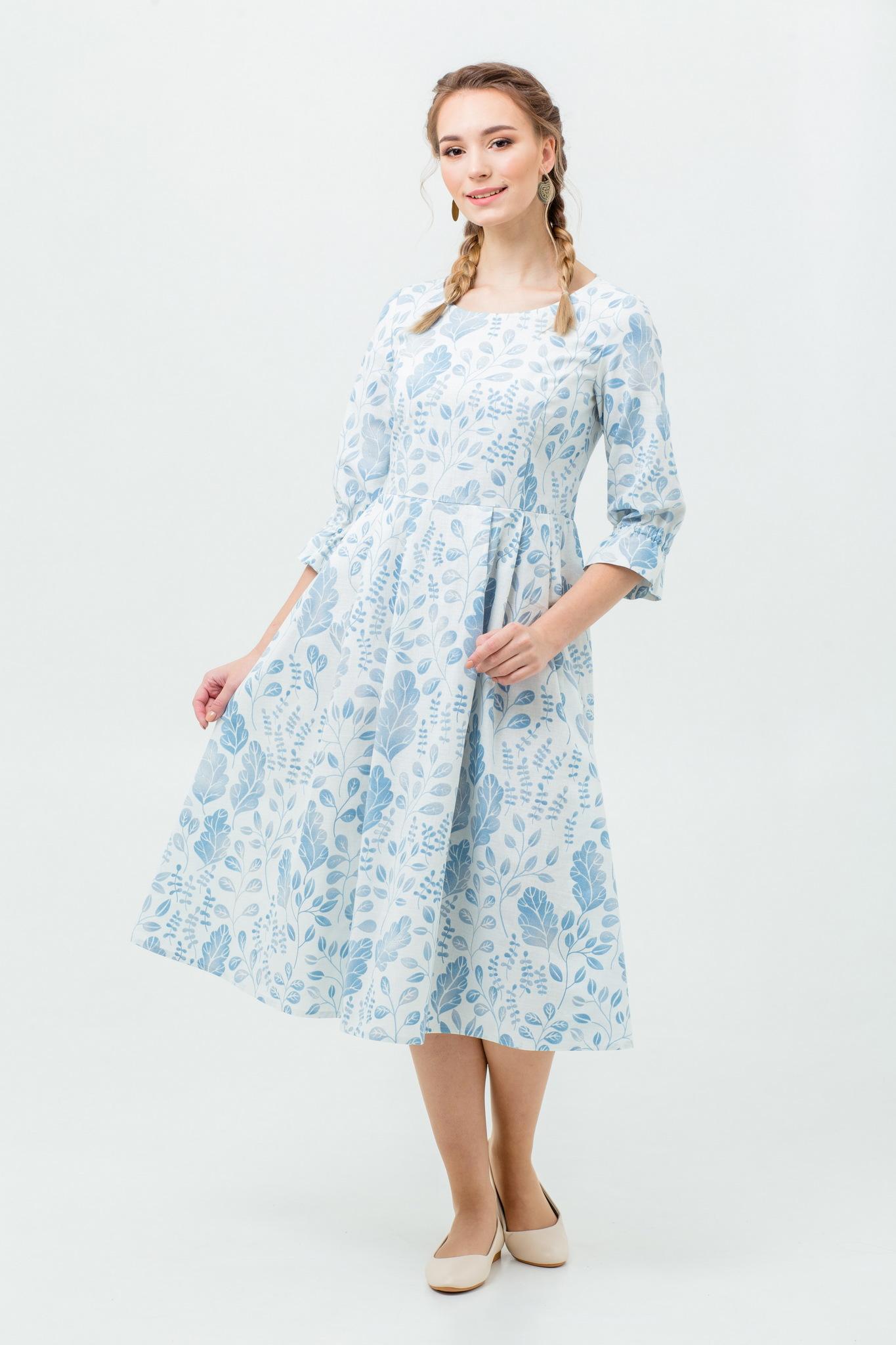 Платье льняное миди Лесная красавица